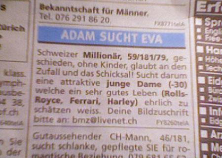Adam sucht Eva, Partnersuche, Schweizer Millionär, Fundimillionär, Schweizer sucht Frau
