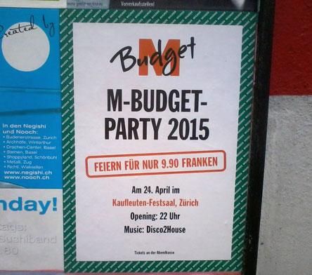 budgetparty, migros party, migros budget, kaufleuten budget, kaufleuten zürich, budget zürich