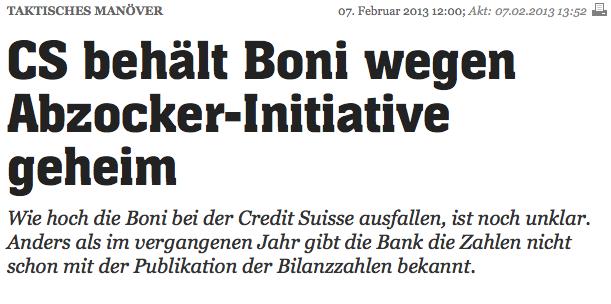 Abzocker, Credit Suisse Boni, Bilanz Credit Suisse 2013, Bonus Zahlungen
