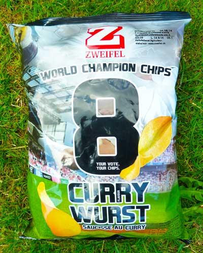 Currywurstchips, Zweifel Chips, WM 2014, Currywurstgeschmack, Kartoffelchips mit Currywurstgeschmack
