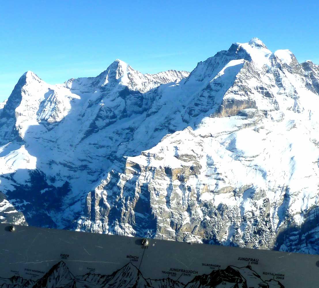 Bergstation Birg, Eiger, Mönch, Jungfrau, Eiger, Moench, Jungfrau, Berner Alpen, Bern Alps