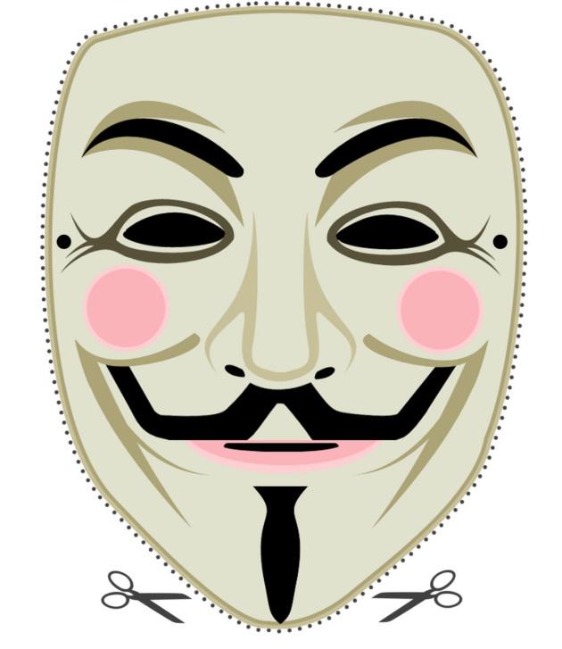Guy Fawkes Maske zum Ausschneiden