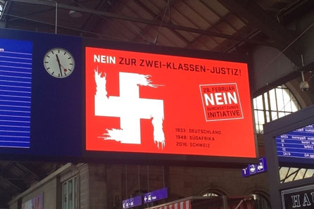 DSI nein Hakenkreiz, Swastika Swiss, Swastika Switzerland, Durchsetzungsinitiative 2016, Nein-Kampagne 2016, DSI 2016