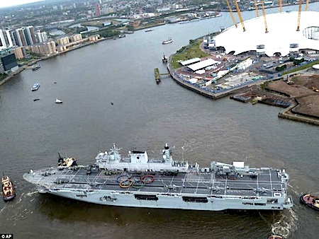 HMS Ocean, Olympic Rings on Warvessel, Olympics 2012, Olympic Games London 2012