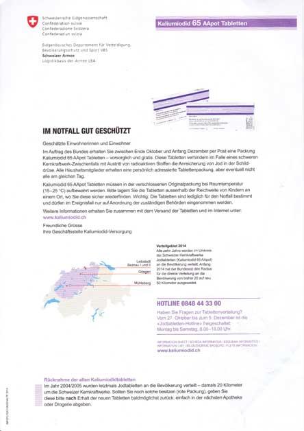 Jod-Tabletten, Schweizer Jodtabletten. Fukushima, Atomkraft, Schilddrüse, Jodierung Schweiz