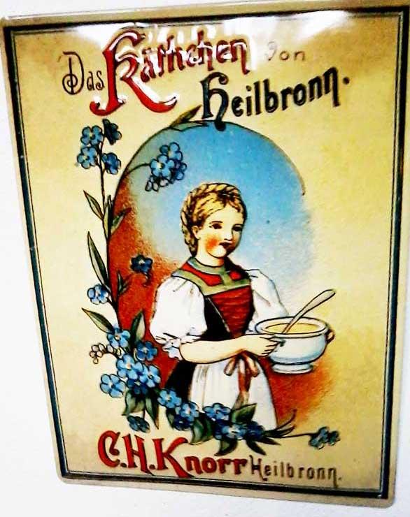 kaethchen von heilbronn, Knorr Werbung, Emaille Werbeschild, Knorr Heilbronn