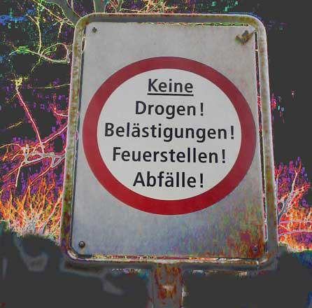 keine drogem, verbotsschild bäckeranlage zürich, keine Drogen Bäcki Zürich, keine drogen zürich