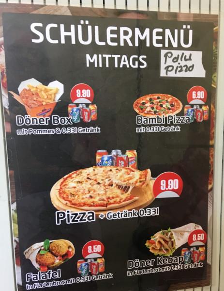 Schülermenü, Junk Food Schule, Fast Food Schule