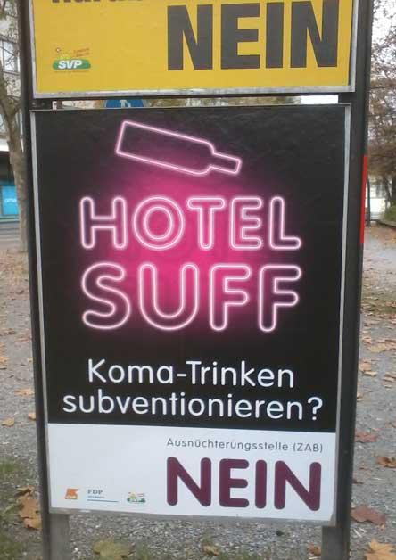Hotel Suff, Hotel Suff Zürich, ZAB, Ausnüchterungszelle