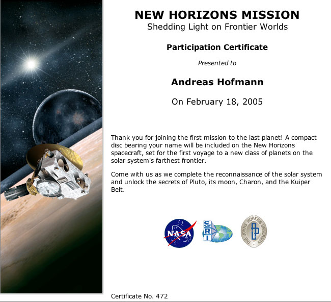 New Horizons, Pluto Sonde, Pluto 2015, Send your name to Pluto