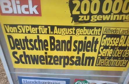 Schweizer Psalm, 1. August, SVP, Schweizer Psalm SVP