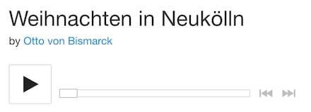 Weihnachten in Neukölln, Otto von Bismarck, Berlin, Musik, Neukölln